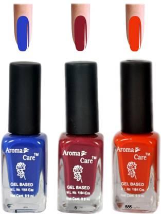 AROMA CARE Blue+Orange Matte Nail Polish Combo 6-9-585 Multicolor,