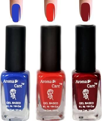 AROMA CARE Blue+Maroon Nail Polish Combo 6-8-628 Multicolor,
