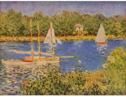 SnapGalaxy Art Panel - The Seine at Argenteuil Basin by Monet