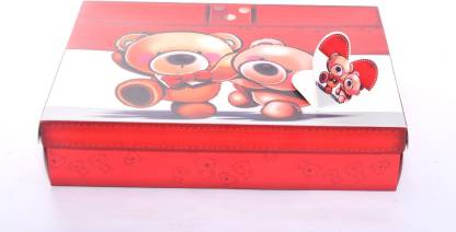 Enwraps Couple Teddy Red Grey Gift (1Pc 32*23*7.2 (LBHcm) Printed Party Box