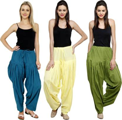 Pistaa Cotton Blend Solid Patiala