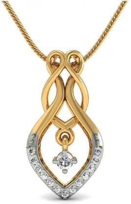 Rasav Jewels Dual Leaf Diamond Pendant 18kt Diamond Yellow Gold Pendant