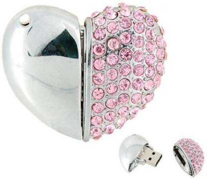 Microware Heart Shape Pink Jewellery Designer Pen Drive 8 GB