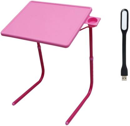 NA Pink Plastic Portable Laptop Table