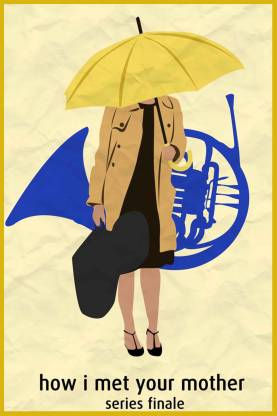 How I Met Your Mother Blue Horn and Yellow Umbrella Paper Print