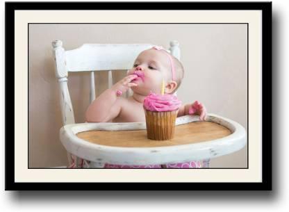 Baby enjoying pink cake Fine Art Print