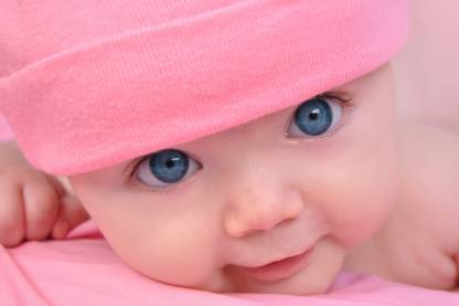 Child's Love - Baby In Pink Hat Paper Print
