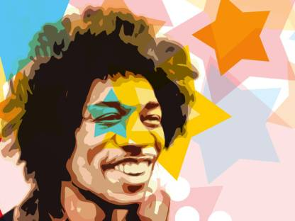 Jimi Hendrix - Star Paper Print