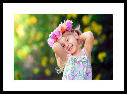 Myimage Cute Baby Girl with sweet Dream Digital Printing Framed Poster (13.0 inch x 19.0 inch) Paper Print