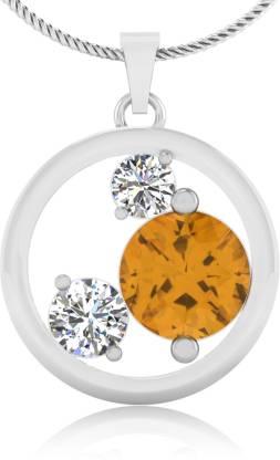 IskiUski Yellow Sapphire 14kt Diamond Yellow Gold Pendant