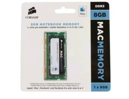 CORSAIR Apple Mac Series DDR3 8 GB (Dual Channel) Laptop (CMSA8GX3M1A1600C11)