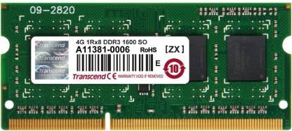 Transcend 1600 MHz DDR3 SO-DIMM DDR3 4 GB Laptop DDR3 (Transcend 4 GB DDR -3- 1600MHZ Laptops RAM (JM1600KSH-4G))