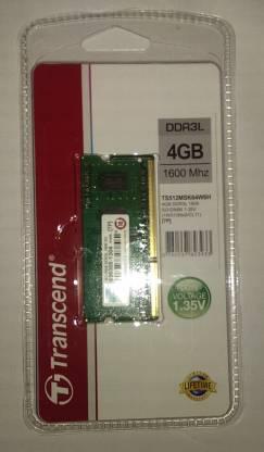 Transcend DDR3L DDR3 4 GB (Dual Channel) Laptop Dram (TS512MSK64W6H)