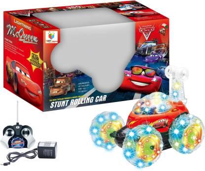 Toys Bhoomi Lightning Mcqueen R/C Stunt Car With LED Light & Sound - 360 Degree Rotating Turbo Somersault Tornado Twister