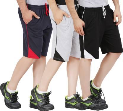 Checkersbay Solid Men Dark Blue, Black, Grey Sports Shorts