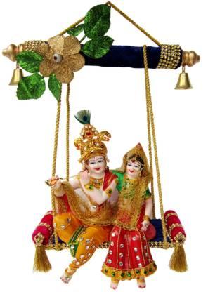 Creativity Centre Radha Krishna On Swing Decorative Showpiece  -  23 cm