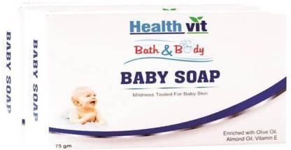HealthVit Bath & Body Baby Soap (Olive, Vitamin E & Almond Oil) 75g Pack of 2