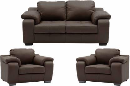 Comfy Sofa Leatherette 3 + 1 + 1 Brown Sofa Set