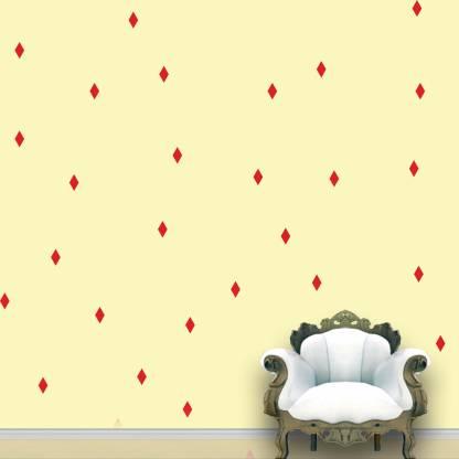Wall Design Diamond Kite Wall Pattern Red Tomato Stickers Set of 84