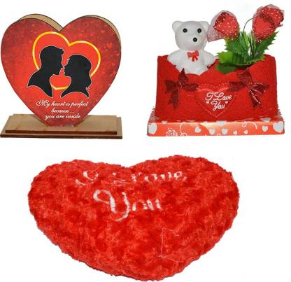 toyzstation i love you heart red color soft pillow 21 16 10 cm with heart shaped pen stand and i love you rose flower gift combo 16 cm