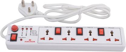 ANCHOR Spike Guard 4 way with Individual Switch 4  Socket Extension Boards