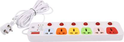 CONA Smyle VIVA 6+6 Power Strip / Spike Guard 6 Socket + 6 Switch with 5 Mtrs Wire 6  Socket Extension Boards