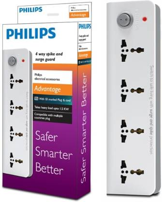 PHILIPS Four Way Extension 4  Socket Extension Boards