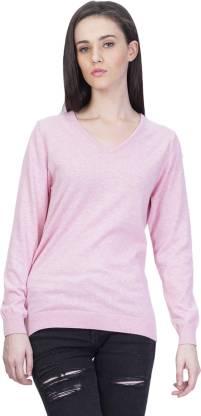 Kalt Solid V-neck Casual Women Pink Sweater