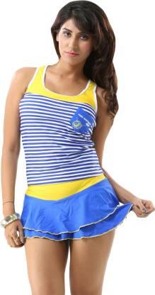 Striped Women Tankini Multicolor Swimsuit