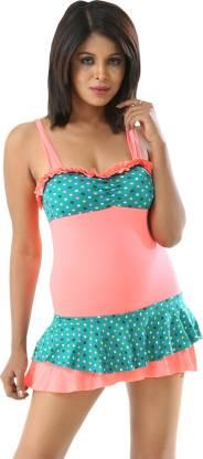Polka Print Women Multicolor Swimsuit
