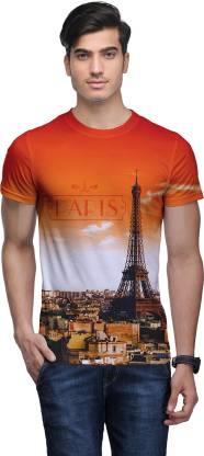 Wear Your Mind Self Design Men Round Neck White, Orange T-Shirt