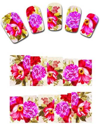 SENECIO™ Pink Red Romantic Floral Water Transfer Nail Tattoo