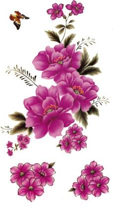 SENECIO™ Purple Flowers With One Butterfly Model Show Style Waterproof Temporary Body Tattoo