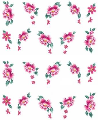SENECIO™ Pink Green Leaf Rose Temporary Nail Tattoo Pack