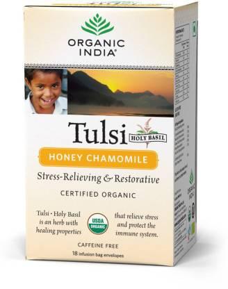ORGANIC INDIA TLS Honey Chamomile Tulsi Herbal Infusion Box