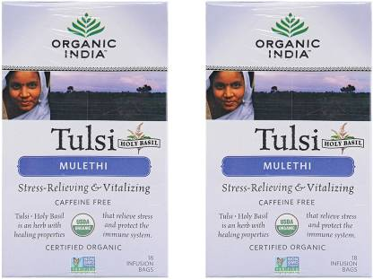 ORGANIC INDIA Tulsi Mulethi 2 Packs Tulsi Herbal Infusion Box