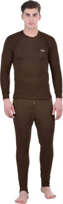 Lux Cottswool Brown Full Sleeves Round Neck Men Top - Pyjama Set Thermal
