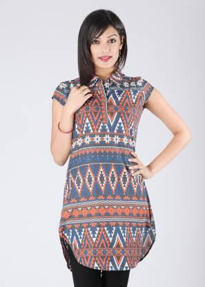 MUMBAI SLANG Casual Short Sleeve Printed Women Blue, Orange Top