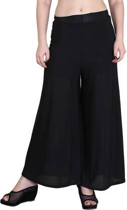 Black Regular Fit Women Black Trousers