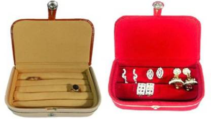 ABHINIDI Pack of 2 Ring box earring case Travelling Pouch Box Vanity Box