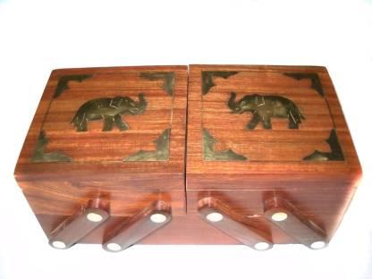 Crafts Paradise Elephant Design Brass Inlay Work Sliding 3 In 1 Jewellery Vanity Box