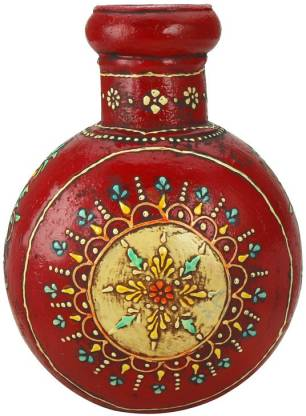 THW Antique Traditional Rajasthani Enamel Work Hand Painted Iron Vase