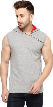 Gritstones Sleeveless Solid Men Sweatshirt