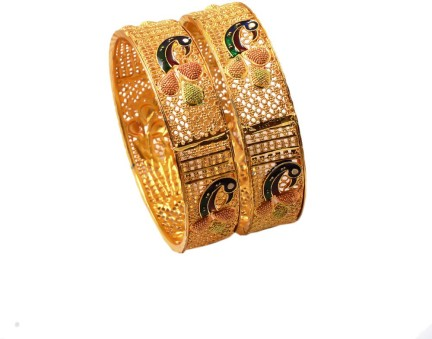 Bangles Fine Gold Plated 2.6 Inch Size Multi-Color Meena Work Jewelry 6926