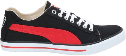 Puma Unisex Hip Hop III Ind. Black and High Risk Red Canvas Sneakers 10 UK