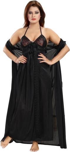 1ce806d47f9 Romaisa Women s Nighty with Robe - Buy Black Romaisa Women s Nighty ...