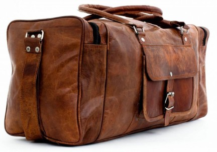 """New 25/"""" Men Brown Vintage Real Travel Luggage Duffle Gym Bags Tote Goat Leather"""