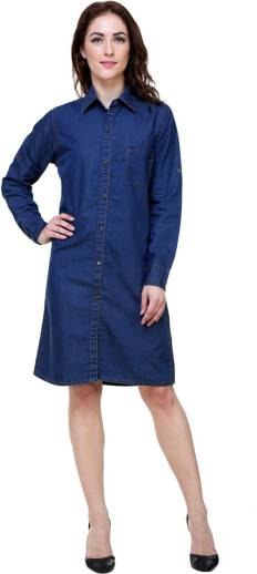 d4b3a1d1882 SKM Women A-line Blue Dress - Buy SKM Women A-line Blue Dress Online ...