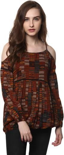 fokart Casual Cold Shoulder Printed Women Multicolor Top - Buy