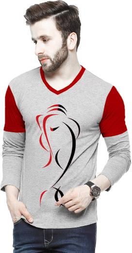 Tripr Printed Men V Neck Multicolor T Shirt